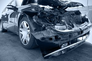 smashed car after an auto accident